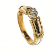 Кольцо из лимонного золота 750 пробы с бриллиантом