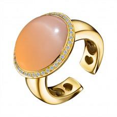 Кольцо из желтого золота 750 пробы с бриллиантами и лунным камнем
