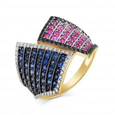 Кольцо из лимонного золота с бриллиантами, сапфирами и рубинами
