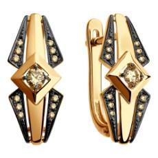 Серьги из золота с коньячными бриллиантами
