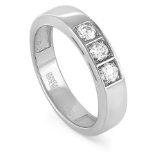 Кольцо из белого золота с 3 бриллиантами