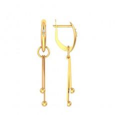 Серьги из красного золота 585 пробы с фианитом