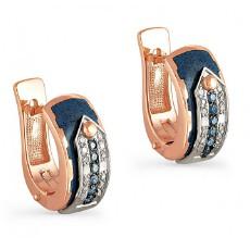 Серьги с фантазийными бриллиантами и эмалью