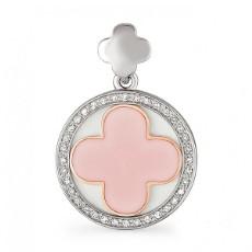 Подвеска из белого золота с бриллиантами и розовой эмалью