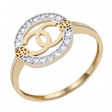 Кольцо из лимонного золота с фианитами