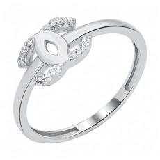 Кольцо из белого золота с фианитами