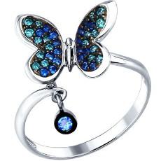 Кольцо «Бабочка» с цветными фианитами