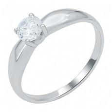 Помолвочное кольцо из белого золота с фианитом