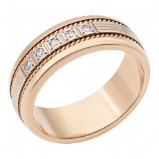 Золотое обручальное кольцо с 5 бриллиантами