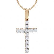Крест из красного золота 585 пробы с фианитом