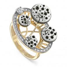 Золотое кольцо с бриллиантами и финифтью