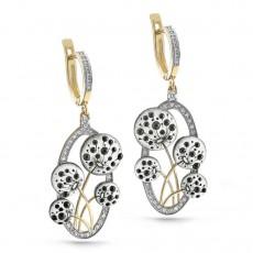 Золотые серьги с бриллиантами и финифтью