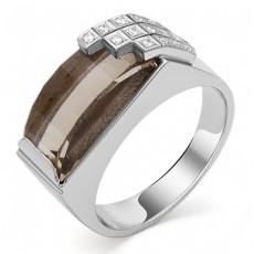 Мужское кольцо из белого золота 750 пробы с кварцем и бриллиантами