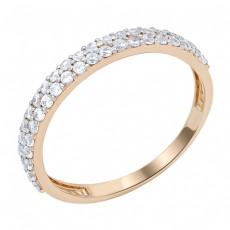 Кольцо из красного золота 585 пробы с фианитами