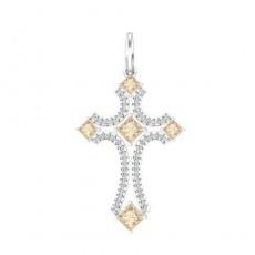 Крест из белого золота 585 пробы с фианитом