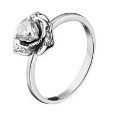 Серебряное кольцо «Роза» с фианитами