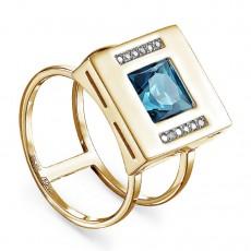 Кольцо из лимонного золота с топазом и бриллиантами