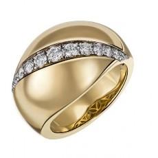 Позолоченное кольцо из серебра с фианитами