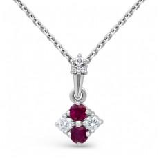 Кулон с бриллиантами и рубинами