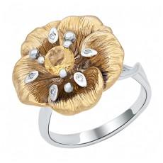 Кольцо из лимонного золота с бриллиантами и цитрином