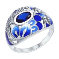 Кольцо из серебра с синей эмалью и фианитом