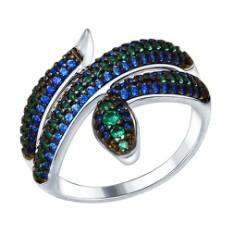 """Кольцо """"Змейка"""" из серебра с зелеными и синими фианитами"""