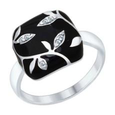 Кольцо из серебра с черной эмалью с фианитами