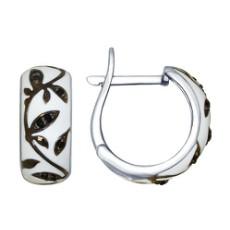 Серьги из серебра с белой эмалью с чёрными фианитами