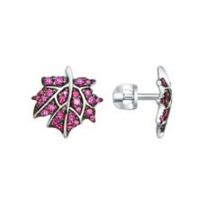 Серьги-пусеты из серебра с розовыми фианитами