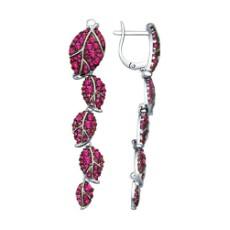 Длинные серьги из серебра с розовыми фианитами
