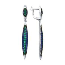 Серьги из серебра с зелеными и синими фианитами