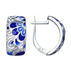 Серьги из серебра с синей эмалью