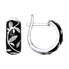 Серьги из серебра с черной эмалью с фианитами