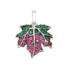 Подвеска из серебра с зелеными, розовыми и сиреневыми фианитами