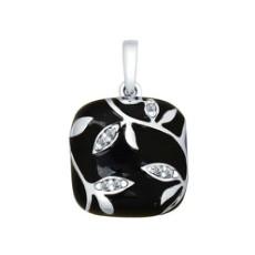 Подвеска из серебра с эмалью с фианитами