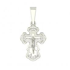 Крест из белого золота 585 пробы без вставок