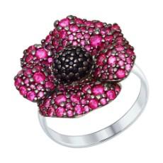 Кольцо из серебра с красными и чёрными фианитами