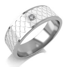 Обручальное кольцо из белого золота с керамикой и бриллиантом