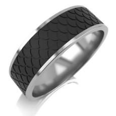Широкое обручальное кольцо из матированного белого золота и рельефного карбона