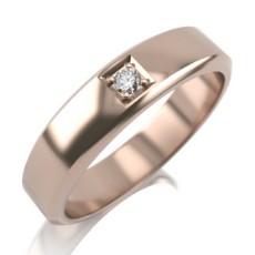 Кольцо из красного золота с 1 бриллиантом