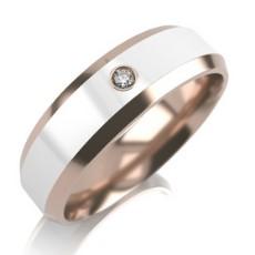 Обручальное кольцо из красного золота с керамикой и 1 бриллиантом