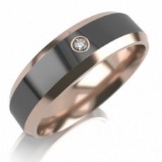 Обручальное кольцо из золота с черной керамикой и бриллиантом
