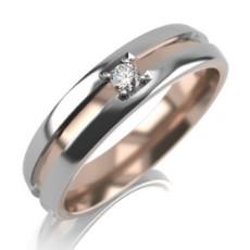 Обручальное кольцо из комбинированного золота с 1 бриллиантом