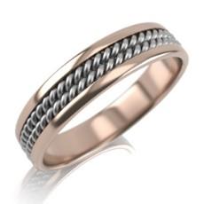 Обручальное кольцо из комбинированного золота с плетением