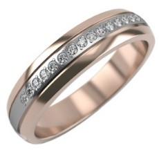 Обручальное кольцо с плетением из белого и красного золота с 15 бриллиантами