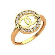 Золотое кольцо в стиле Шанель с фианитами