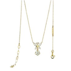 Золотое колье с бриллиантом и эмалью бренда Roberto Bravo