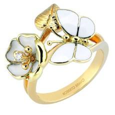 Золотое кольцо с бриллиантом и эмалью бренда Roberto Bravo