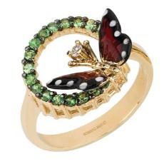 Золотое кольцо с сапфирами и бриллиантом бренда Roberto Bravo