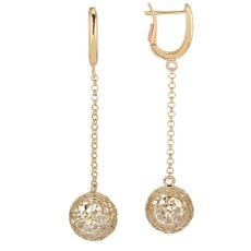 Золотые серьги с цирконами бренда Roberto Bravo